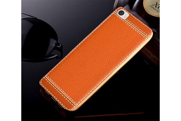 Премиальная элитная крышка-накладка на xiaomi mi 5c коричневая из качественного силикона с дизайном под кожу