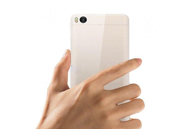 Ультра-тонкая полимерная из мягкого качественного силикона задняя панель-чехол-накладка для xiaomi mi 5c прозрачная