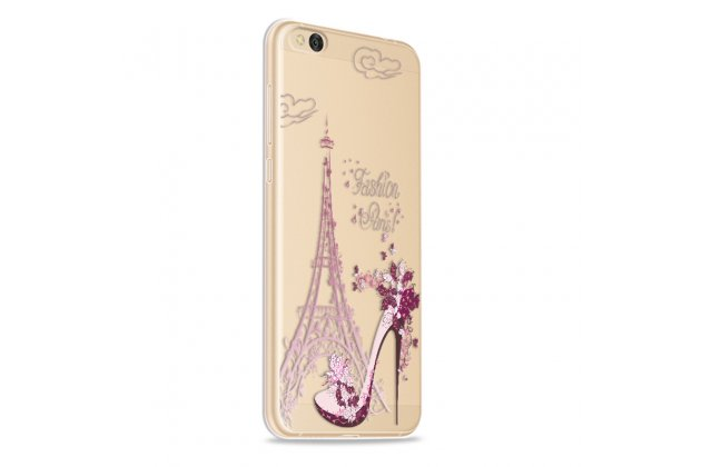 Задняя панель-чехол-накладка из прозрачного 3d  силикона с объёмным рисунком для xiaomi mi 5c  тематика париж  которая огибает логотип чтобы была видна марка телефона