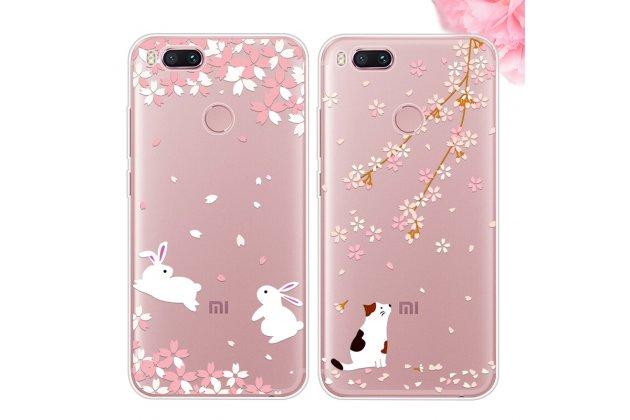 Роскошная задняя панель-чехол-накладка  из мягкого силикона с безумно красивым расписным 3d рисунком на xiaomi mi 5x/xiaomi mi a1 тематика кролики в цветах
