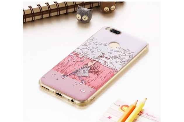 Задняя панель-чехол-накладка из прозрачного 3d  силикона с объёмным рисунком для xiaomi mi 5x /xiaomi mi a1 тематика девочка и кот которая огибает логотип чтобы была видна марка телефона