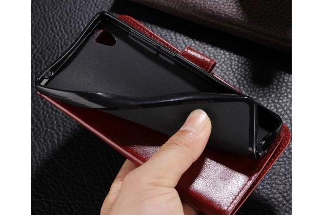 Чехол-книжка из качественной импортной кожи с подставкой застёжкой и визитницей для xiaomi mi 5x / xiaomi mi a1 коричневый