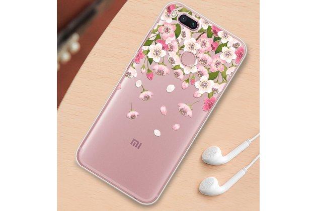 """Ультра-тонкая полимерная из мягкого качественного силикона задняя панель-чехол-накладка для xiaomi mi 6 с изображением """"цветы"""""""