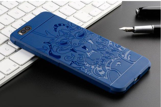Ультра-тонкая полимерная из мягкого качественного силикона задняя панель-чехол-накладка для xiaomi mi 6 с декором синяя