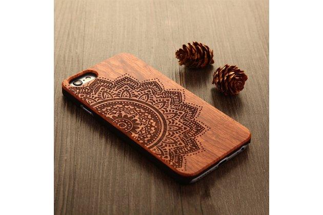 """Деревянная из натурального бамбука задняя панель-крышка-накладка для xiaomi mi 6 с изображением """"мандала"""""""