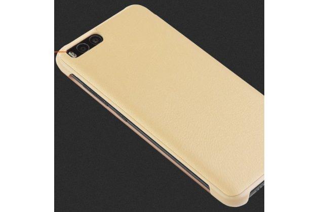 Чехол книжка ice view case book flip cover для xiaomi mi 6 и активной крышкой золотого цвета