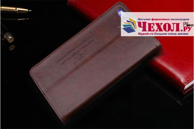 Чехол-книжка из качественной импортной кожи с мульти-подставкой и визитницей для xiaomi mi 6 темно-коричневый
