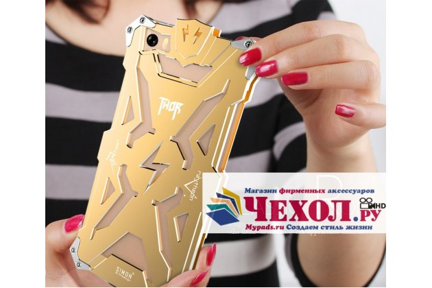 Противоударный металлический чехол-бампер из цельного куска металла с усиленной защитой углов и необычным экстремальным дизайном  для  xiaomi mi 6 золотого цвета