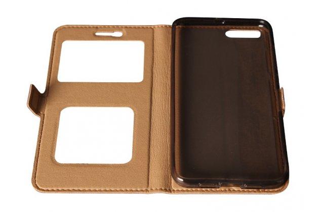 Чехол-книжка для xiaomi mi 6 коричневый кожаный с окошком для входящих вызовов и свайпом