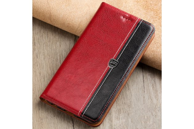 Чехол-книжка из качественной импортной кожи с мульти-подставкой и визитницей для xiaomi mi 6 красный с черной полосой