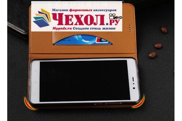 Чехол-книжка из качественной импортной кожи с мульти-подставкой и визитницей для xiaomi mi 6 темно-коричневый с черной полосой
