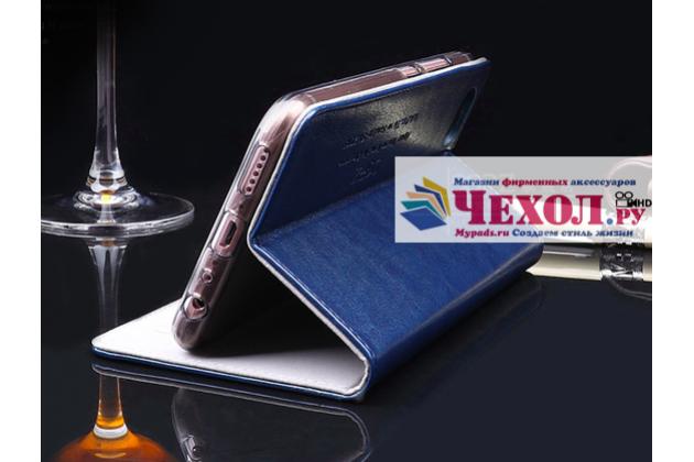 Чехол-книжка из качественной импортной кожи с мульти-подставкой и визитницей для xiaomi mi 6 синий