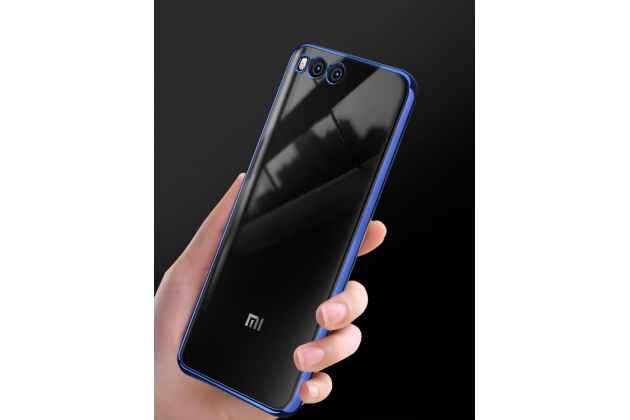 Ультра-тонкая полимерная из мягкого качественного силикона задняя панель-чехол-накладка для xiaomi mi 6 прозрачная с синей рамкой
