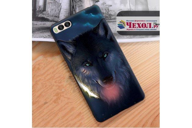 """Уникальная задняя панель-крышка-накладка из тончайшего силикона для xiaomi mi 6 с объёмным 3d рисунком """"волк"""""""