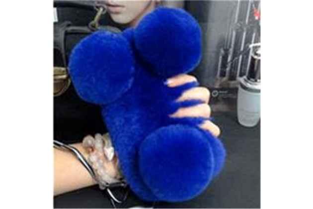 """Меховой пушистый чехол-панель для xiaomi mi 6 синий """"пушистик"""""""