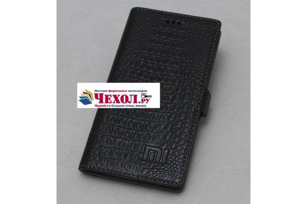 Роскошный эксклюзивный чехол с фактурной прошивкой рельефа кожи крокодила и визитницей черный для xiaomi mi 5x/xiaomi mi a1. только в нашем магазине. количество ограничено
