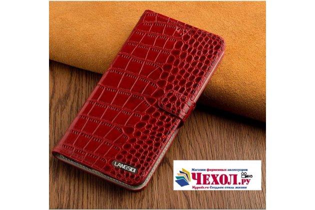 Роскошный эксклюзивный чехол с фактурной прошивкой рельефа кожи крокодила и визитницей красный для xiaomi mi 5x/xiaomi mi a1. только в нашем магазине. количество ограничено
