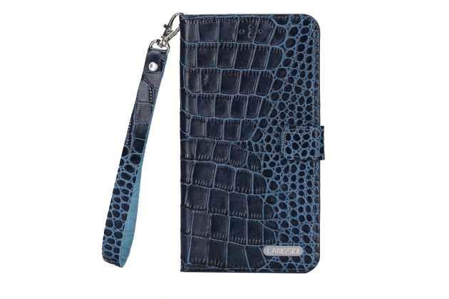 Роскошный эксклюзивный чехол с фактурной прошивкой рельефа кожи крокодила и визитницей синий для xiaomi mi 5x/xiaomi mi a1. только в нашем магазине. количество ограничено