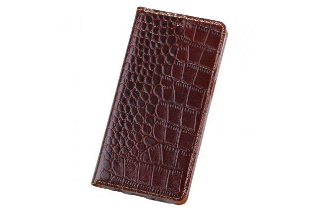 Роскошный эксклюзивный чехол с фактурной прошивкой рельефа кожи крокодила и визитницей коричневый для xiaomi mi 5s / xiaomi mi5s 5.15. только в нашем магазине. количество ограничено