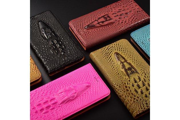 Роскошный эксклюзивный чехол с объёмным 3d изображением кожи крокодила коричневый для xiaomi redmi note 5a . только в нашем магазине. количество ограничено