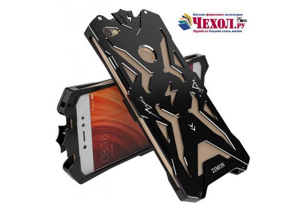 Противоударный металлический чехол-бампер из цельного куска металла с усиленной защитой углов и необычным экстремальным дизайном  для  xiaomi redmi note 5a черного цвета