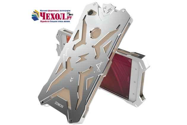 Противоударный металлический чехол-бампер из цельного куска металла с усиленной защитой углов и необычным экстремальным дизайном  для  xiaomi redmi note 5a серебристого цвета