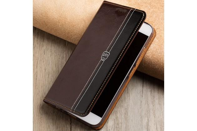 Премиальный элитный чехол-книжка из качественной импортной кожи с мульти-подставкой и визитницей для xiaomi redmi note 5a черно-коричневый