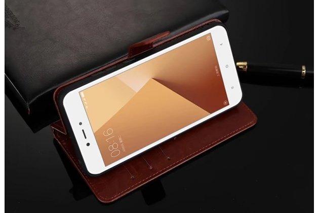Чехол-книжка из качественной импортной кожи с подставкой застёжкой и визитницей для xiaomi redmi note 5a коричневый