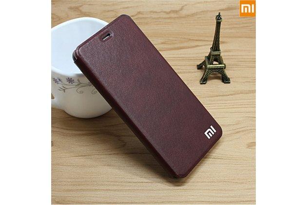 Чехол-книжка  с логотипом для xiaomi redmi note 5a водоотталкивающий с мульти-подставкой коричневый