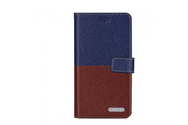 Премиальный элитный чехол-книжка из качественной импортной кожи с мульти-подставкой и визитницей для zte blade a510 коричнево-синий