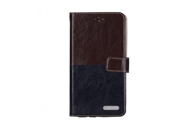 Премиальный элитный чехол-книжка из качественной импортной кожи с мульти-подставкой и визитницей для zte blade a510  коричнево-черный