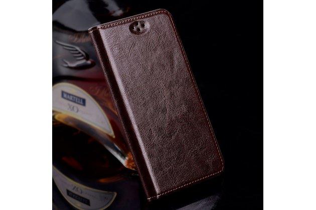 Премиальный элитный чехол-книжка из качественной импортной кожи с мульти-подставкой для zte blade a510 коричневый