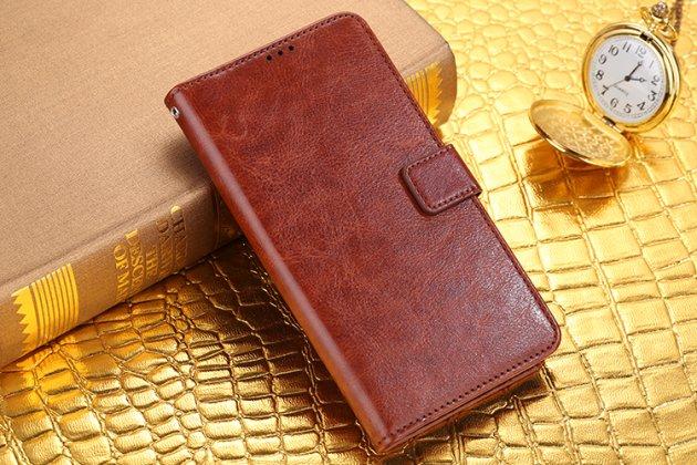 Чехол-книжка из качественной импортной кожи с мульти-подставкой застёжкой и визитницей для zte blade a510 коричневый
