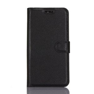 Фирменный чехол-книжка из качественной импортной кожи с подставкой застёжкой и визитницей для ZTE Blade A610 Plus черный