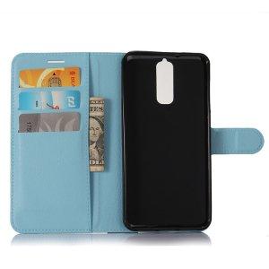 Фирменный чехол-книжка из качественной импортной кожи с подставкой застёжкой и визитницей для ZTE Blade A610 Plus голубой