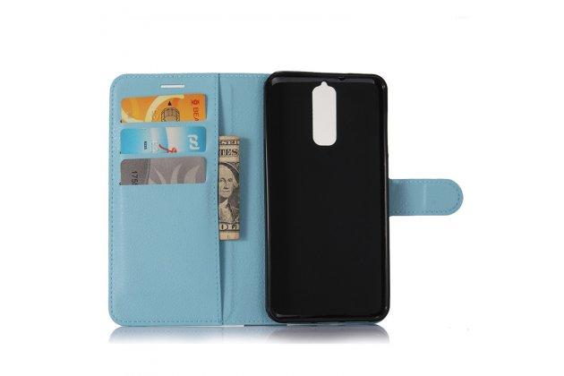 Чехол-книжка из качественной импортной кожи с подставкой застёжкой и визитницей для zte blade a610 plus голубой