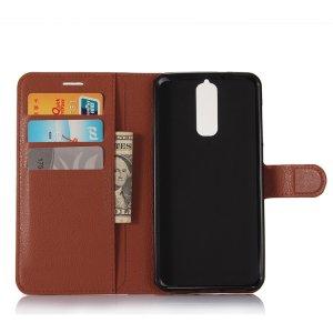 Чехол-книжка из качественной импортной кожи с подставкой застёжкой и визитницей для zte blade a610 plus коричневый