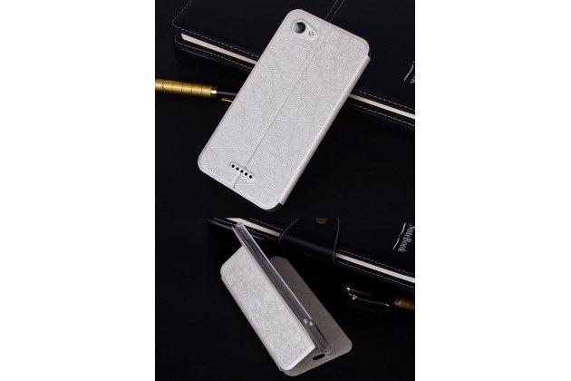 Чехол-книжка водоотталкивающий с мульти-подставкой на жёсткой металлической основе для zte blade a610c 5.0 (ba601)  серебристый