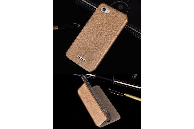 Чехол-книжка водоотталкивающий с мульти-подставкой на жёсткой металлической основе для zte blade a610c 5.0 (ba601)  золотой