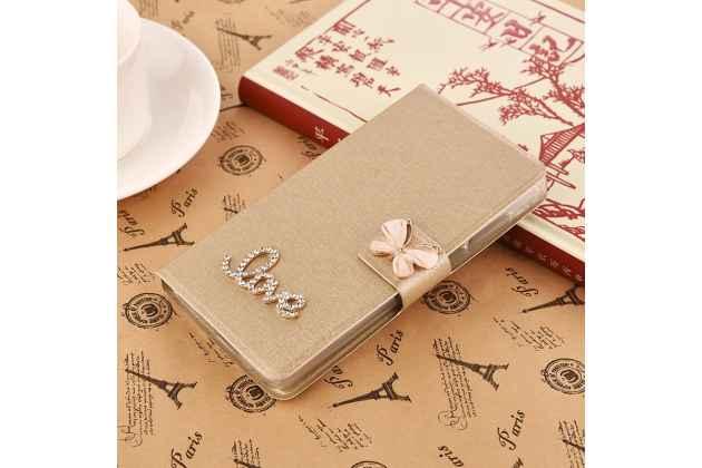 Роскошный чехол-книжка безумно красивый декорированный бусинками и кристаликами на zte blade a610c 5.0 (ba601) золотой