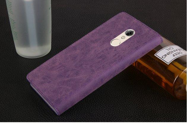 Премиальный элитный чехол-книжка из качественной импортной кожи с мульти-подставкой и визитницей для zte blade v7 5.2 (bv0701) ретро фиолетовый