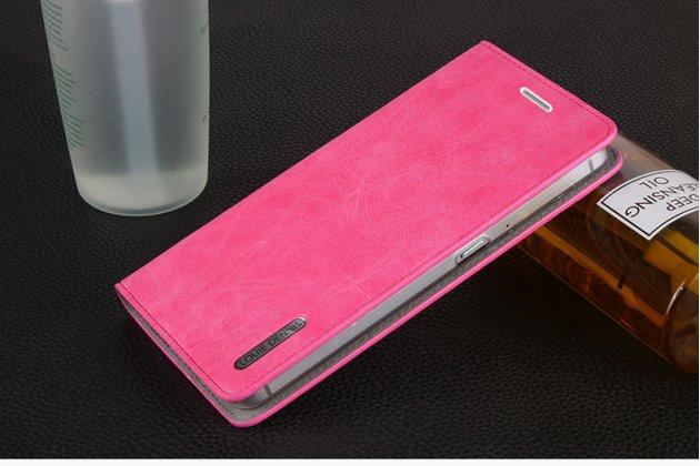 Премиальный элитный чехол-книжка из качественной импортной кожи с мульти-подставкой и визитницей для zte blade v7 5.2 (bv0701)  ретро розовый
