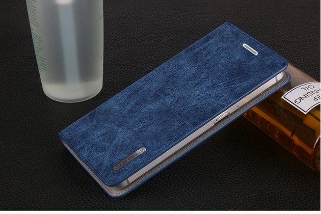 Премиальный элитный чехол-книжка из качественной импортной кожи с мульти-подставкой и визитницей для zte blade v7 5.2 (bv0701)  ретро синий