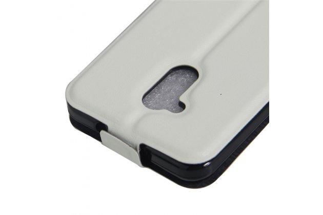 Вертикальный откидной чехол-флип для zte blade v7 lite (bv0720)/ blade a2 белый из натуральной кожи prestige