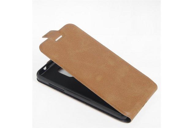 Вертикальный откидной чехол-флип для zte blade v7 lite (bv0720)/ blade a2 коричневый из натуральной кожи prestige