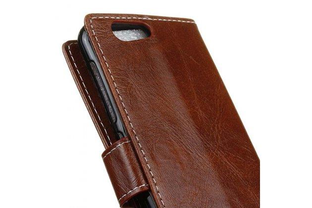 Чехол-книжка из качественной импортной кожи с застёжкой и мультиподставкой для zte blade z10 5.2 коричневый