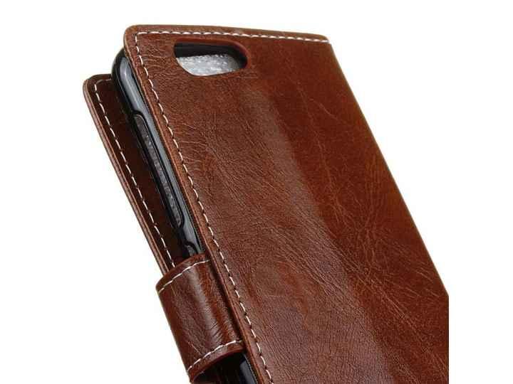 Чехол-книжка из качественной импортной кожи с застёжкой и мультиподставкой для zte blade z10 5.2 коричневый..