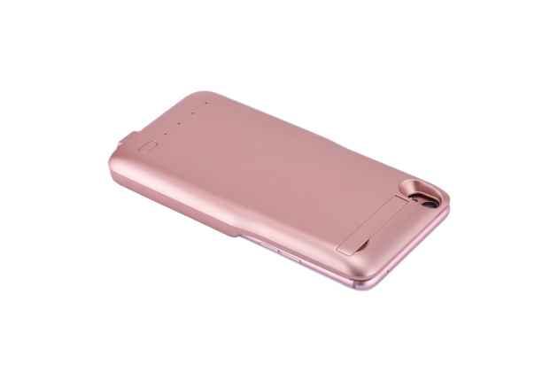 Чехол-бампер со встроенной усиленной мощной батарей-аккумулятором большой повышенной расширенной ёмкости 4200 mah для zte nubia m2 5.5 (nx551j) розовое золото + гарантия