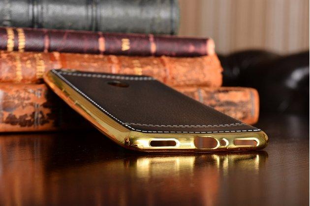 Премиальная элитная крышка-накладка на zte nubia n1 черная из качественного силикона с дизайном под кожу