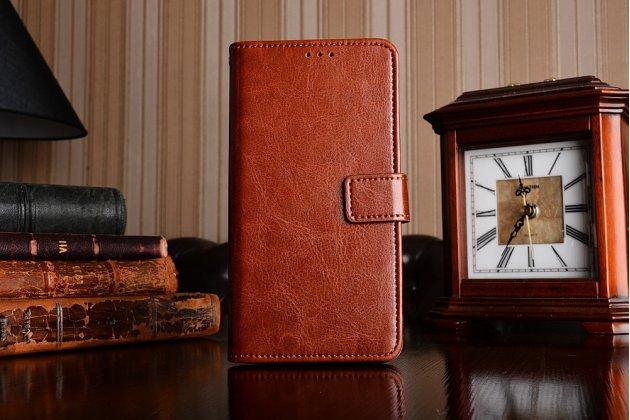 Премиальный  чехол-книжка из качественной импортной кожи с подставкой застёжкой и визитницей для zte nubia n1 коричневый